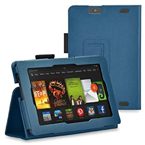 "GadgetinBox™ - Dark Blue New Kindle Fire HD 7"" 2013 Version Multi Functional Case With Sleep/Wake Feature + Screen Protector & Stylus Pen (Not for HDX or Kindle HD 2012 Model)"