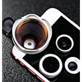 Universal Ultra Professional cell Phone photopraphy Lens 4 in 1 Kit 180 Fisheye Lens + 0.63x Wide Angle Lens + 15x Macro Lens + 3x Telephoto for Iphone 7 5S SE 6 6S Plus Samsung S6 S7 Edge