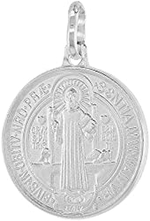 Sterling Silver St Benedict Medal Necklace 3/4 inch Round Italy