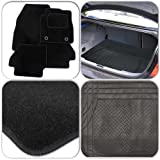 Custom Fit Tailor Made Black Carpet Car Mats with Heel Pad for Ford Focus C-max (2003 Onwards) + Black Heavy Duty Rubber Boot Protection Mat Liner
