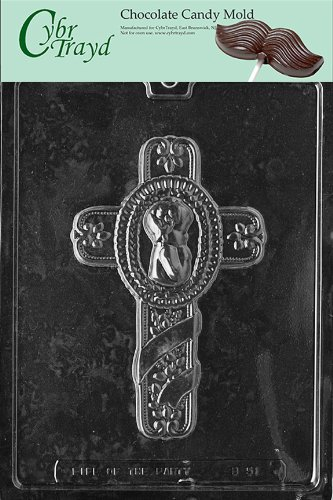 Cybrtrayd B051 Baby'S Baptism Cross Chocolate Candy Mold With Exclusive Cybrtrayd Copyrighted Chocolate Molding Instructions front-980892