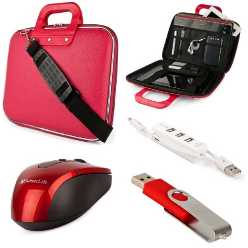 Pink Sumaclife Cady Semi Hard Case W/ Shoulder Strap For Asus A52 Series 15.6-Inch Notebooks + Red Sumaclife Wireless Usb Mouse And Adapter + Red 4Gb Flash Memory Thumbdrive + Kallin Universal 3 Port Usb Hub With Micro Usb Charger Cable