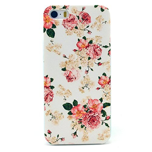 Iphone 5c Case, JAHOLAN Pink Flower Clear Bumper TPU Soft Case Rubber Silicone Skin Cover for iphone 5C (Iphone 5c Flower Case Protective compare prices)