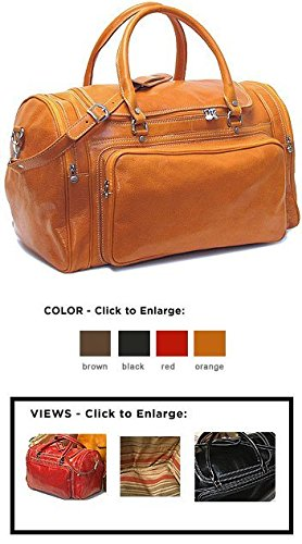 Floto Luggage Torino Duffle Suitcase, Orange, Large Torino Leather Duffle Bag