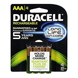 Duracell Rechargeable AAA Batteries, 4 Count (Pack of 2) (Packaging May Vary)