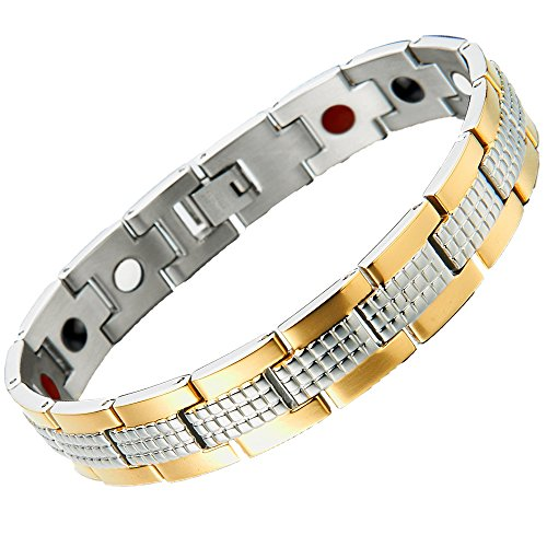 Stainless Steel Mens Jewelry Link Magnetic Bracelet for Man 8.4 Inches Free Link Removal Kit