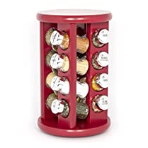KitchenRax 16-Spice Revolving Carousel Spice Herb Rack in Bordeaux Red 0442