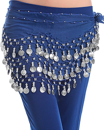 Mixed Colors Wholesale 6pc lot of Chiffon 158 Silver Coin Belly Dance Hip Scarves