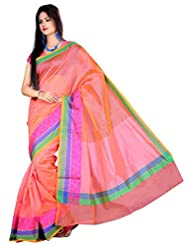 "Asavari ""Office Attire"" Pink Supernet Cotton Banarasi Saree With Triple Weaved Borders"