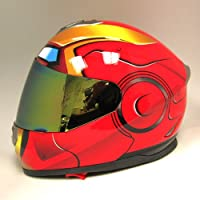 Iron Man DOT Motorcycle Bike Dual Visor Full Face Helmet Golden Red, Size X-Large Size XL (59-60 CM,23.2/23.6 Inch) from Power Gear Motorsports