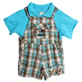 Baby Togs Baby Boys' 2 Piece Blue Polo Shirt Plaid Overalls Shorts Shortalls
