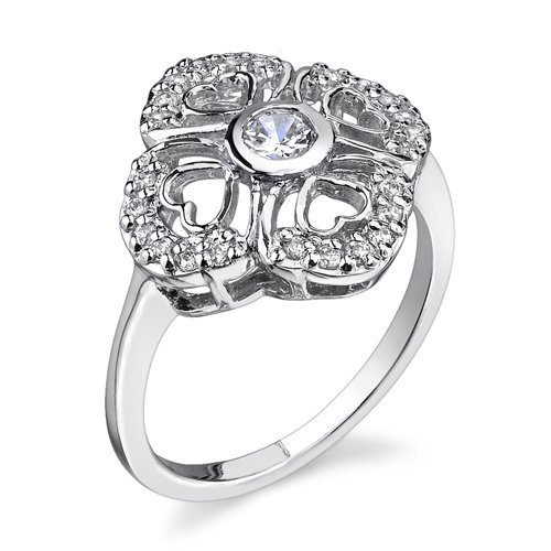 Petite Vintage Romance: Sterling Silver Rhodium Finish Size 8 Vintage Style Promise Ring with Cubic Zirconia