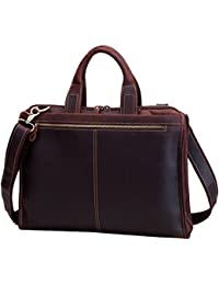 Men's Laptop Messenger Bag, Berchirly 15.6 Inch Men Leather Shoulder Computer Work Bags Tote- 100% Top Layer Crazy...