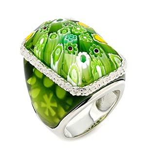 Murano Grand Collection Faceted Green Rectangular Glass Dome Ring
