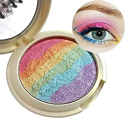 MLMSY Baked Rainbow Highlighter Makeup Palette Cosmetic Blusher Shimmer Powder Contour Eyeshadow 6 colors in 1