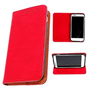 DooDa PU Leather Flip Case Cover For Micromax Canvas HD A116 (Red)