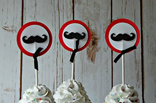 Mustache Party Cupcake Toppers (set of 12) (Lil Mustache Baby compare prices)