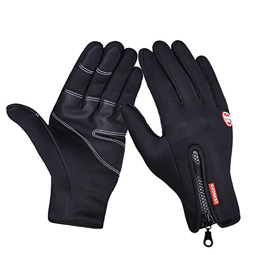 Unisex Winter Windproof Cycling Touchscreen Gloves Outdoor Cold Weather Thick Warm Gloves Driving Texting Gloves for Men & Women for Smartphones and Tablet PC (Black-PU, M) (Pot Box Vapor compare prices)