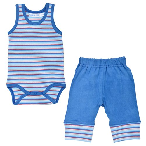 Under The Nile Apparel Sleeveless Babybody With Cuff Pant, Newborn - 3 Months, Blue front-1033711