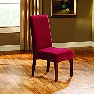 Sure Fit Stretch Pique Shorty Dining Room Chair Slipcover Garnet