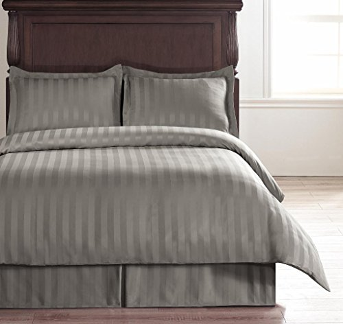 Hotel Collection Light Grey - Cal-King Size 4-Piece Reversible Duvet Cover Set With 1Pc Duvet Insert