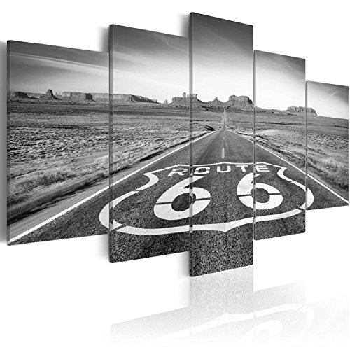 Quadro 200x100 cm ! Tre colori da scegliere - 5 Parti - Grande Formato - Quadro su tela fliselina - Stampa in qualita fotografica - Route 66 paesaggio nero bianco c-B-0020-b-p 200x100 cm B&D XXL