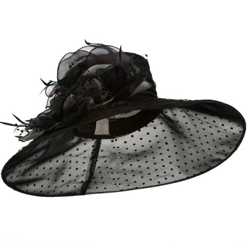 Polka Dot Designed Flower Detailed Organza Hat - Black W27S45C