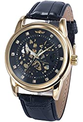 AMPM24 Mens PMW422 Analog Automatic Skeleton Black Dial Leather Band Wrist Watch