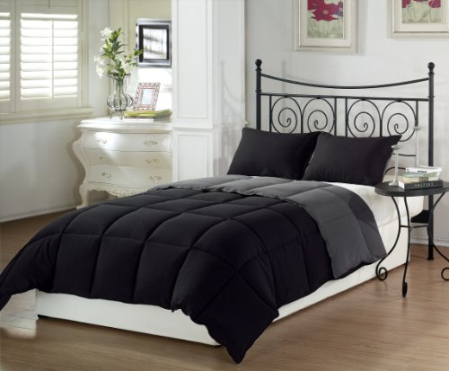 Review Chezmoi Collection 3-Piece Black Grey Super Soft Goose Down Alternative Reversible Comforter ...