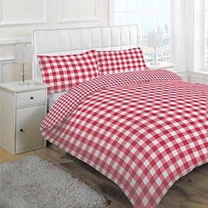 parure housse de couette motif carreaux vichy rouge. Black Bedroom Furniture Sets. Home Design Ideas
