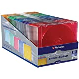 Verbatim 94178 Slim CD and DVD Storage Cases - 50 Pack - 5 Assorted Colors