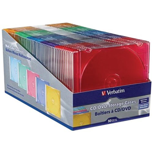 Verbatim Slim CD and DVD Storage Cases - 50 Pack - 5 Assorted Colors 94178