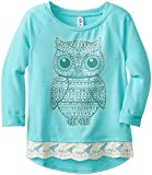 Beautees Big Girls French Terry Pullover with Owl, Sea Turquoise, Small