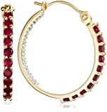 14k Yellow Gold Ruby and Diamond Inside-Out Hoop Earrings
