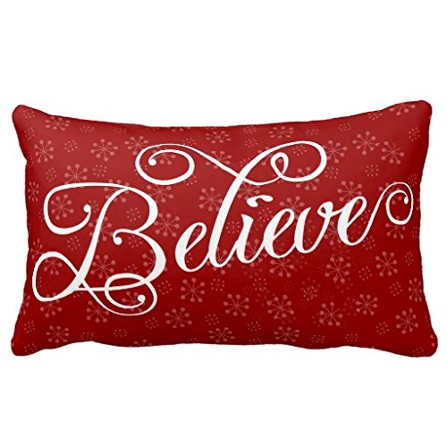 Himoud Believe in Christmas Holiday Snowflake Lumbar Pillowcase Pillow Covers 20 x12 inches Believe Bath