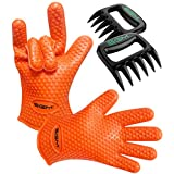 BBQ Gloves, Barbecue Grill Set - Protect Your Hands with Heat Resistant Silicone Gloves - Includes Bear Claws for Pulling Meat - 100% Satisfaction Guaranteed!