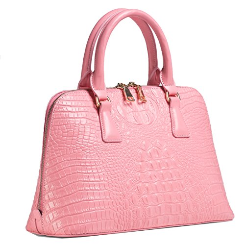 Missmay Women's Genuine Leather Purse Handbag Crocodile Satchel Tote Shoulder Bag Work