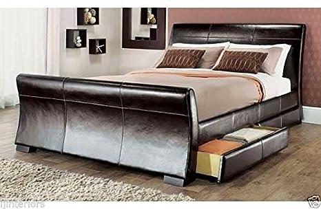 IJ Interiors–Schlittenbett, 4Schubladen, Leder, Stauraum, Doppel- oder King-Size-Betten + Memory-Matratze, Luxuriöse Memory-Schaum-Matratze, braun, Kingsize (1,5 m)