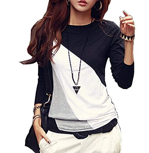 Minetom Donna Moda T-shirt Colore Hit Manica Lunga Allentata Casuale Camicetta Maglietta Nero IT 44