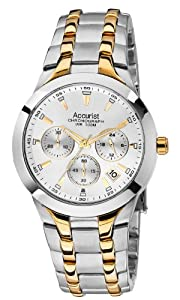 Accurist Men's Quartz Watch with Silver Dial Chronograph Display and Multicolour Stainless Steel Plated Bracelet MB1059S