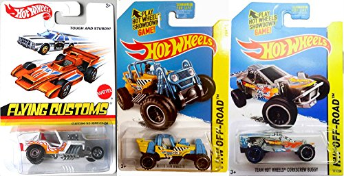 BUGGY Series Hot Wheels - Mountain MAULER buggy Car Set 3 Pack 2015 HW Off-Road Hot Wheels Yellow Tea Hot Wheels Corkscrew Buggy & Flying Customs '42 Jeep CJ-2A in PROTECTIVE CASES