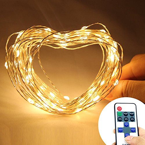 Eastchina® | Warm White Color 10M/33Ft 100 Leds Copper Wire Flexible Lights | Led String Lights | With Wireless Remote Control Mini Dimmer | With 12V Adapter | For Wedding Christmas Party Holiday Celebration