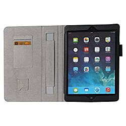 HOKO Black Leather Flip Cover Book Case with Elastic Hand Strap and Card Holder and magnetic closure for Apple iPad Air (Auto wake and sleep)