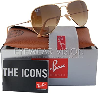 Ray-Ban RB3025 Aviator Sunglasses Matte Gold/Brown Gradient (112/85) RB 3025 55mm