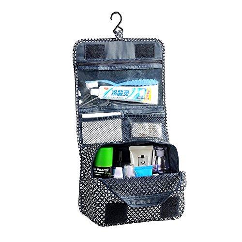 Forepin® Portatile Pieghevole Organizer Borsa Toilette Borsetta da Viaggio Pochette Make up Cosmetico Wash Bag Beauty Case con Gancio Zipper Pouch - Stile 1 Blu Griglia