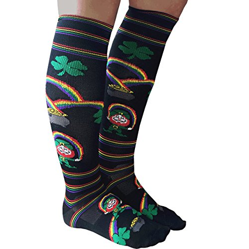 Chrissy's Socks Women's Leprechaun Knee High Socks Black / Green