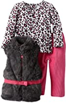 Young Hearts Baby-Girls Infant 3 Piece Animal Print Vest Pant Set, Pink, 24 Months