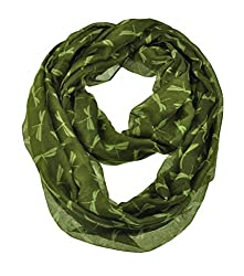 WishCart Infinity Loop Scarf For Womens and Girls ,Circle Neck Wrap ,Animal Printing-Green Dragonfly