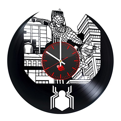 [Spider Man Vinyl Record Wall Clock - Get unique bed, kids, bathroom wall art décor - Gift ideas for siblings, children - Unique comics art design - Leave us a feedback and win your custom] (The Amazing Spider Man 2 2016 Costume)