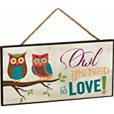 Owl You Need Is Love! Two Owls on Branch Decorative Hanging Sign - Made in USA